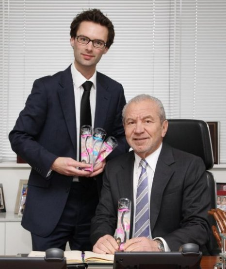 Tom Pellereau and now business partner Lord Sugar pose with their new invention