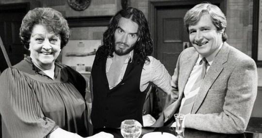 Betty Driver as Betty Turpin, Russell Brand and Bill Roache as Ken Barlow