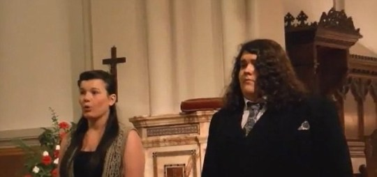 Jonathan and Charlotte perform in church (Picture: YouTube)