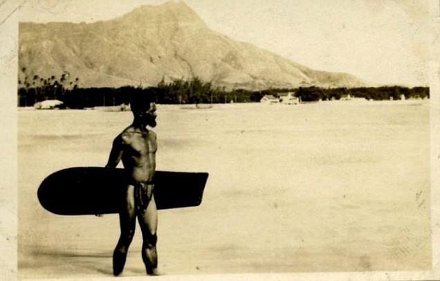 A surfer in Hawaii taken in 1890