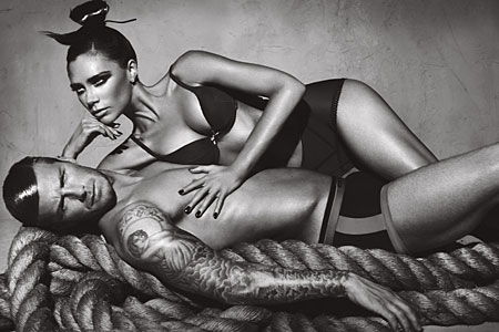 Becks and mum Posh have both stripped for Armani