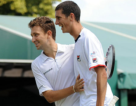 Alex Bogdanovic and James Ward claimed a rare British victory in the doubles