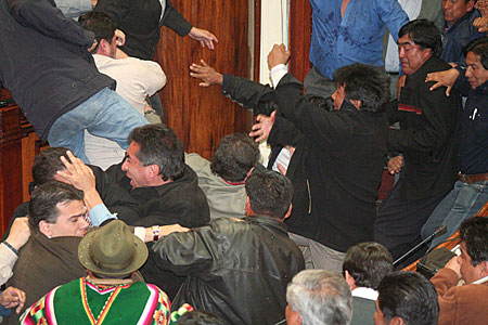 Bolivian parliament fight