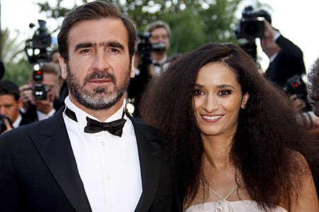 Eric Cantona and Rachida Brakni arrive for the gala screening of the film Looking for Eric