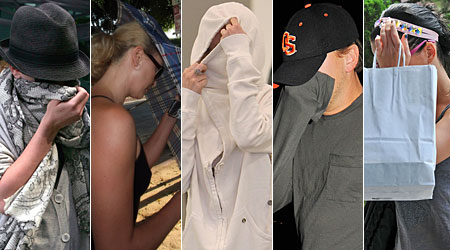 Playing hide and seek: From left, Scarlett Johansson, 24, Charlize Theron, 33, Lindsay Lohan, 23, Leonardo Di Caprio, 34, and Katy Perry, 24