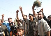 Iraq helmet celebrations