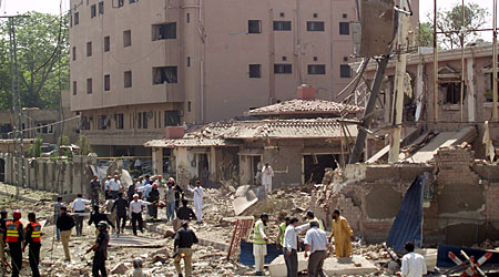 The bomb destroyed buildings