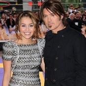 Miley Cyrus and Billy Ray Cyrus at the UK premiere of Hannah Montana