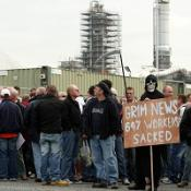 Protesters outside the Lindsey oil refinery in North Lincolnshire