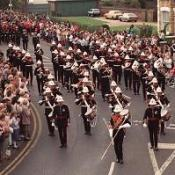 The Royal Marines School of Music staff band parades through Deal in 1989 just after the bombing
