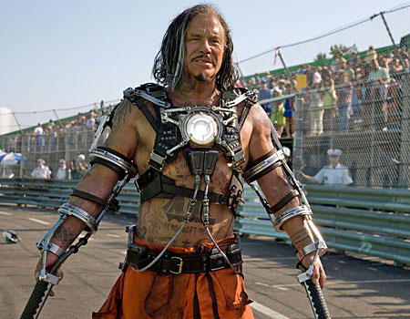 Mickey Rourke stars as Whiplash in Iron Man 2