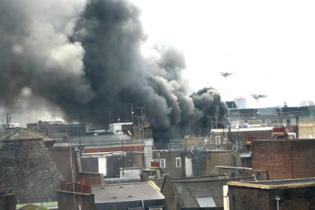 Smoke rises above Soho (Picture by codepo8 on Flickr under a Creative Commons licence)