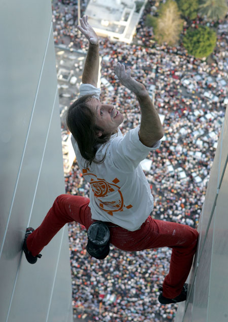 'Spiderman' Alain Robert on a previous climb