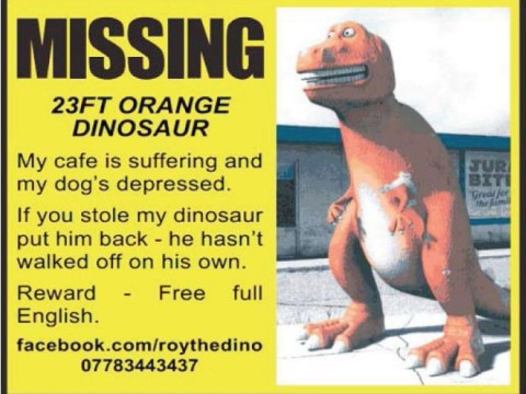 Anyone seen a 23ft dinosaur from Essex?