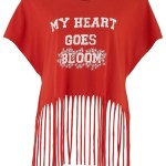 Simeon Farrar My Heart Goes Bloom fringed tee in red