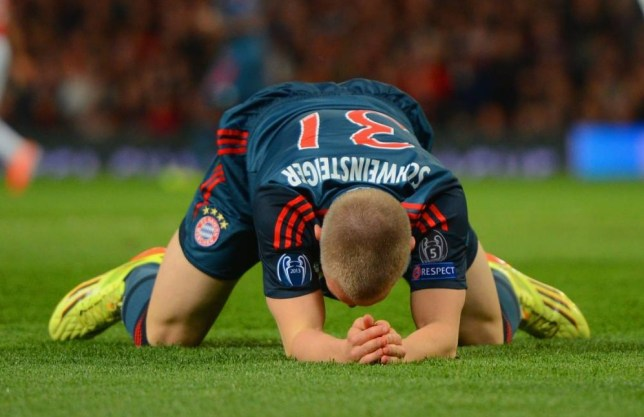 MANCHESTER, ENGLAND - APRIL 01:  Bastian Schweinsteiger of Bayern Muenchen reacts during the UEFA Champions League Quarter Final first leg match between Manchester United and FC Bayern Muenchen at Old Trafford on April 1, 2014 in Manchester, England.  (Photo by Michael Regan/Bongarts/Getty Images)
