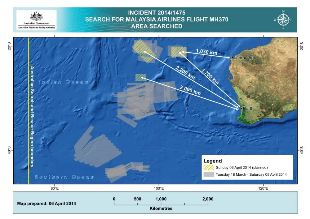 epa04156178 A handout image released by the Australian Maritime Safety Authority (AMSA) in Canberra, Australia, 06 April 2014, shows three search areas in the Indian Ocean, West of Australia, where  planes and ships are searching again for the missing Malaysian Airlines flight MH370 on 06 April 2014, also shown are search areas on previous days. Ships and planes may be sent to investigate the electronic pulse signals detected by a Chinese ship searching for wreckage from a Malaysian passenger jet missing for almost a month, Australian officials said on 06 April.  EPA/AMSA  HANDOUT EDITORIAL USE ONLY/NO SALES