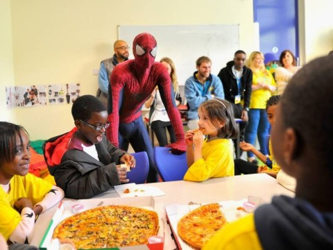 And you thought non-uniform days were cool… Andrew Garfield turns up at kids' charity dressed as Spider-Man