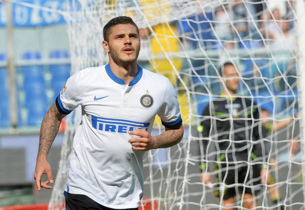 epa04165844 Inter's Mauro Icardi reacts after scoring the 3-0 lead during the Italian Serie A soccer match between UC Sampdoria and Inter Milan at the Luigi Ferraris stadium in Genoa, Italy, 13 April 2014. Inter won 4-0.  EPA/LUCA ZENNARO