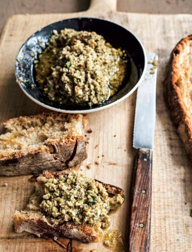 Green olive, basil, and almond tapenade (Picture: Supplied)