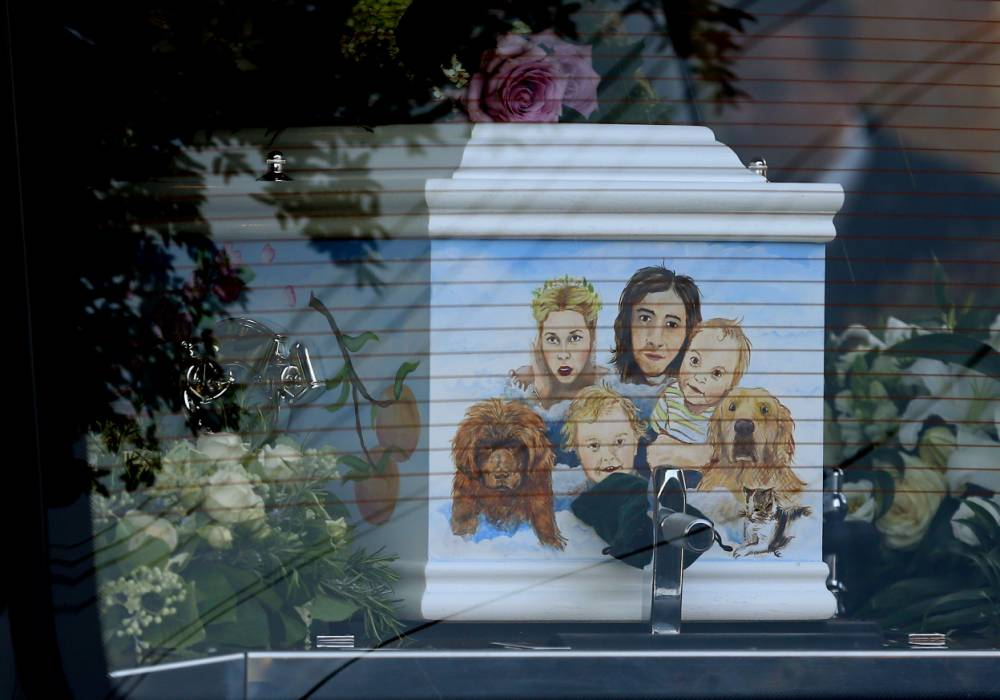 A fitting final tribute: Peaches Geldof's coffin features touching painting of her cherished family