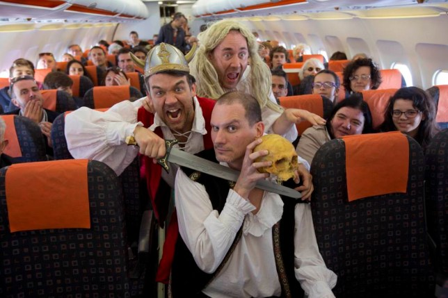 Undated handout photo issued by easyJet of actors from the Reduced Shakespeare Company as they perform an abridged version of the playwrightís works at 37,000ft. PRESS ASSOCIATION Photo. Issue date: Wednesday April 23, 2014. In celebration of the 450th anniversary of the Bardís birth, the live performance will take place in front of passengers on an easyJet flight from Gatwick Airport, West Sussex, to Verona, Italy. The actors are hoping to set a Guinness World Record for the Highest Theatrical Performance with the play which will last one hour, an easyJet spokeswoman said. See PA story AIR Shakespeare. Photo credit should read: Tim Anderson/PA Wire NOTE TO EDITORS: This handout photo may only be used in for editorial reporting purposes for the contemporaneous illustration of events, things or the people in the image or facts mentioned in the caption. Reuse of the picture may require further permission from the copyright holder.