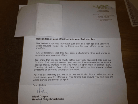 Housing association offers tax burdened tenants free Creme Egg