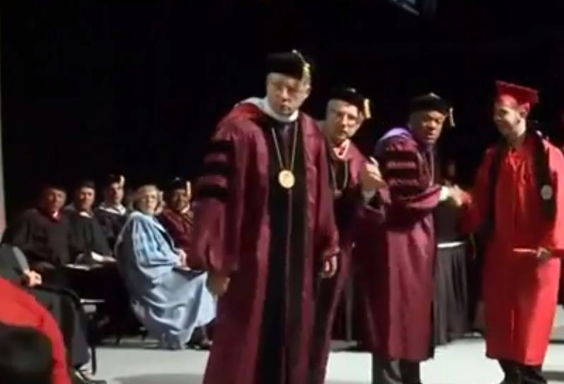 Video: Graduation ceremony backflip celebration goes spectacularly wrong