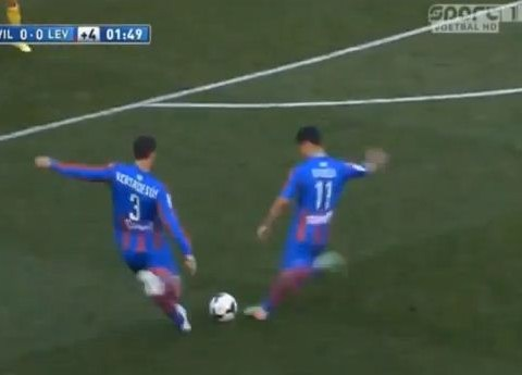 Levante, this is why you practice free-kicks BEFORE a match