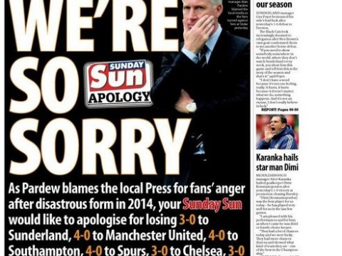 Newspaper 'apologises' to Newcastle manager Alan Pardew in sarcastic back-page splash