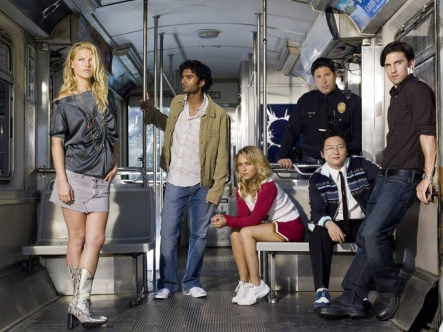 Television programme : Heroes.   Picture shows: Generic. Cast of HEROES.  Ali Larter as Niki Sanders, Sendhil Ramamurthy as Mohinder Suresh, Hayden Panettiere as Claire Bennet, Greg Grunberg as Matt Parkman, Masi Oka as Hiro Nakamura, Milo Ventimiglia as Peter Petrelli  NBC Universal. TX:  BBC 2 Warning: Use of this copyright image is subject to Terms of Use of BBC Digital Picture Service.  In particular, this image may only be used during the publicity period for the purpose of publicising the showing of HEROES on BBC Television and provided   NBC Universal is credited. Any use of this image on the internet or for any other purpose whatsoever, including advertising or other commercial uses, requires the prior written approval of    NBC Universal. NUP_100503 group