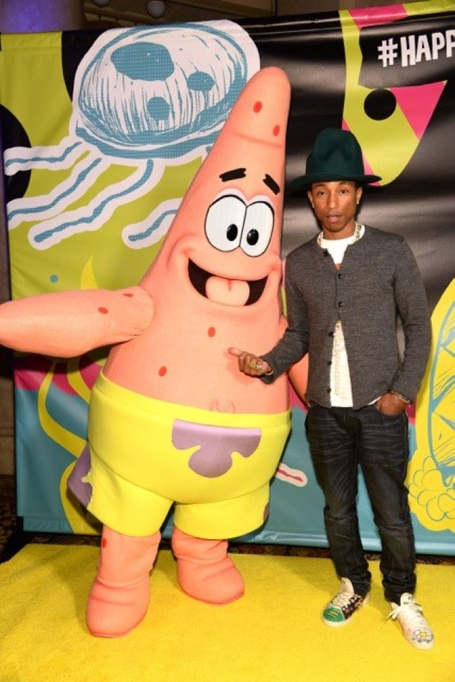 Pharrell partied with SpongeBob's best buddy Patrick (Pictures: Taylor Hill/FilmMagic)