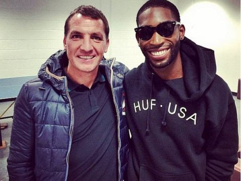 Brendan Rodgers hangs with Tinie Tempah backstage after Liverpool gig
