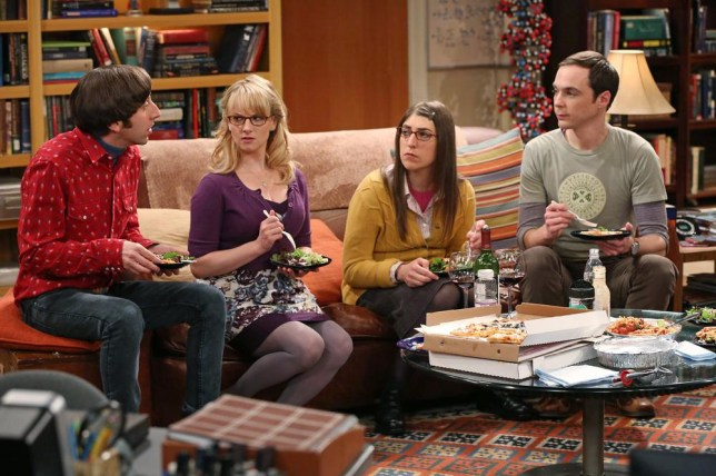 """Simon Helberg, Melissa Rauch, Mayim Bialik and Jim Parsons in a scene from """"The Big Bang Theory."""" CBS reports quarterly earnings on Thursday, May 8, 2014. (AP Photo/CBS, Michael Yarish, File)"""