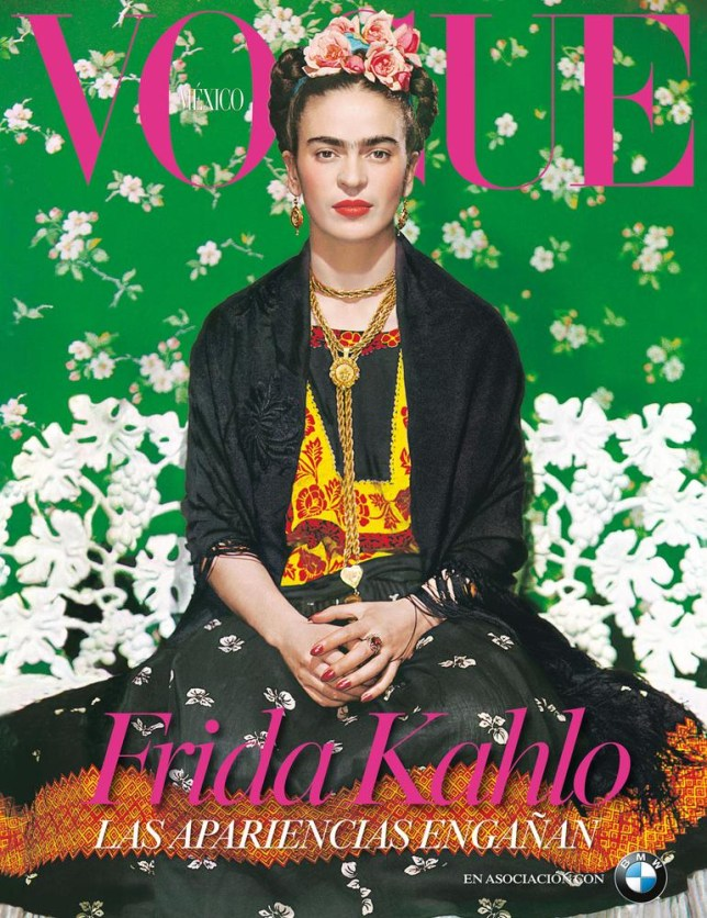 The late Mexican painter Frida Kahlo appears on the cover of the Nov. 2012 supplement of Vogue Mexico. The photo was taken in 1939 by the Hungarian photographer Nickolas Muray.