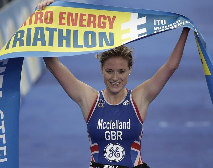Faye McClelland triumphantly crosses the finish line in London last year (Picture: Getty Images)