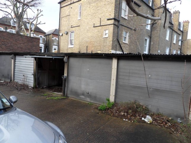 The row of garages in Fulham that have sold for £700,000 - ten times their guide price. See SWNS story SWGARAGE: An auction house was left stunned when a row of garages it valued at around £75,000 ended up selling for a staggering £700,000. The six garages, which each have a rental potential of just £65 per month, were put up for sale without planning permission for development. But despite this there was a bidding frenzy when the Fulham garages were auctioned off by Auction House London. They were offered with an estimate of £75,000 but ended up selling for £700,000 - almost TEN TIMES what was expected.