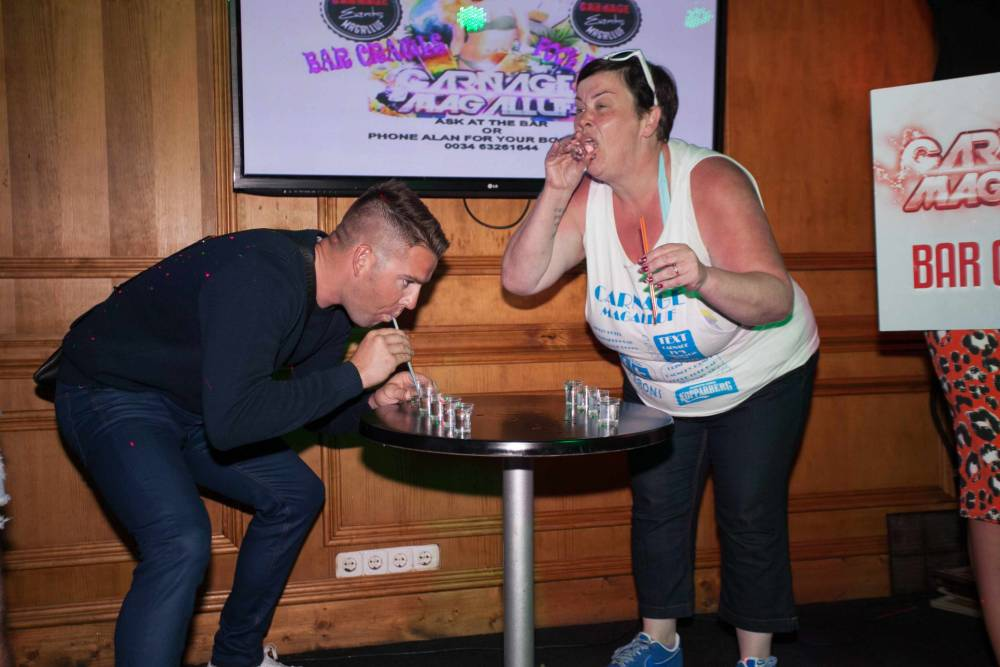 Website Embargo until 10pm 4th May 2014nFee £750 nnEXCLUSIVEnnWhite dee attends Carnage Bar Crawl in  Magalufn©Exclusivepix