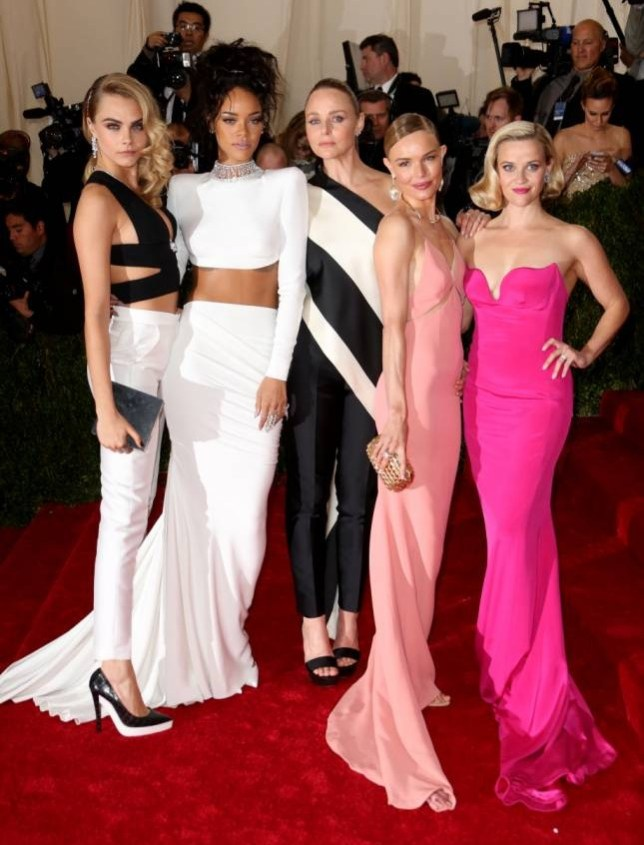 Red carpet bum fight: Cara Delevingne, Rihanna, Stella McCartney, Kate Bosworth and Reese Witherspoon Picture: BEI)