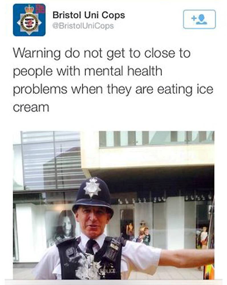 Policeman in hot water after Twitter joke about people with mental health problems