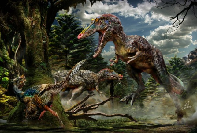 Embargoed to 1000 Wednesday May 7 Undated handout photo issued by Edinburgh University of an artist's impression of a new species of dinosaur, called Qianzhousaurus sinensis (right), which belonged to the same family as Tyrannosaurus rex has been discovered by scientists. PRESS ASSOCIATION Photo. Issue date: Wednesday May 7, 2014. The remains of the long-snouted tyrannosaur, nicknamed Pinocchio rex, were found near the city of Ganzhou in southern China. Researchers believe the animal, which stalked the Earth more than 66 million years ago, was a fearsome carnivore that lived in Asia during the late Cretaceous period. The bones were discovered by workmen on a construction site more than 12 months ago who took them to a local museum. Experts from the Chinese Academy of Geological Sciences and the University of Edinburgh then became involved in examining the remains. See PA story SCIENCE Tyrannosaur. Photo credit should read: Chuang Zhao/University of Edinburgh/PA Wire  NOTE TO EDITORS: This handout photo may only be used in for editorial reporting purposes for the contemporaneous illustration of events, things or the people in the image or facts mentioned in the caption. Reuse of the picture may require further permission from the copyright holder.