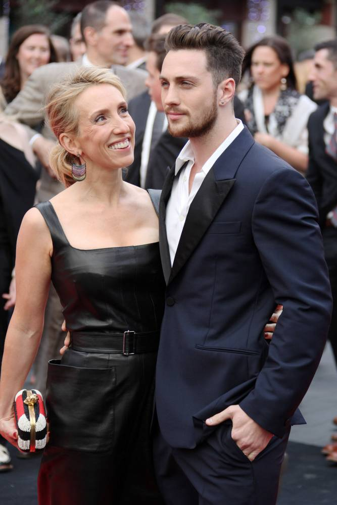 Sam Taylor Wood and Aaron Taylor Johnson arriving at the European premiere of 'Godzilla' held at the Odeon, Leicester Square, central London, UK on Sunday May 11, 2014.