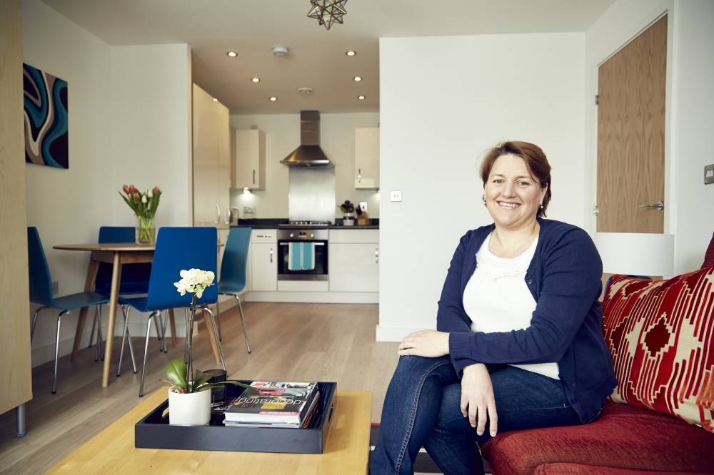 Settled in: Tonya Illing inside her new home at Langhorne Place, Dollis Hill (Picture: Supplied)
