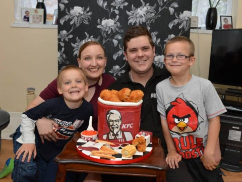 Piece of cake: Wife bakes husband amazingly intricate KFC-themed cake for his birthday