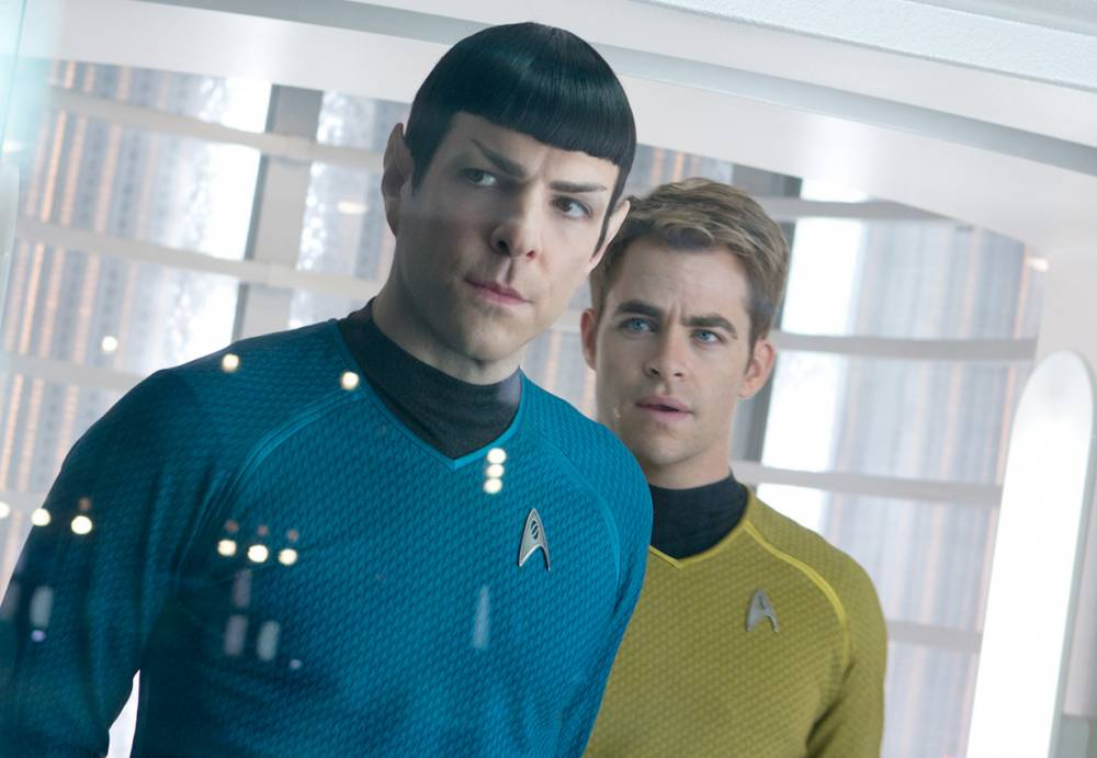 Film: Star Trek Into Darkness (2013), starring Zachary Quinto as Spock and Chris Pine as James T. Kirk. Star Trek Into Darkness - Zachary Qinto and Chris Pine