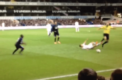 Revenge! Tottenham star Lewis Holtby does epic tackle on referee Howard Webb