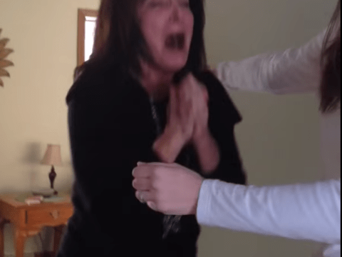 Watch this mother's crazy reaction to becoming a grandmother