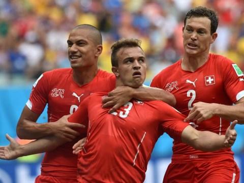 Liverpool target Xherdan Shaqiri scores cracking hat-trick to guide Switzerland through to knock-outs