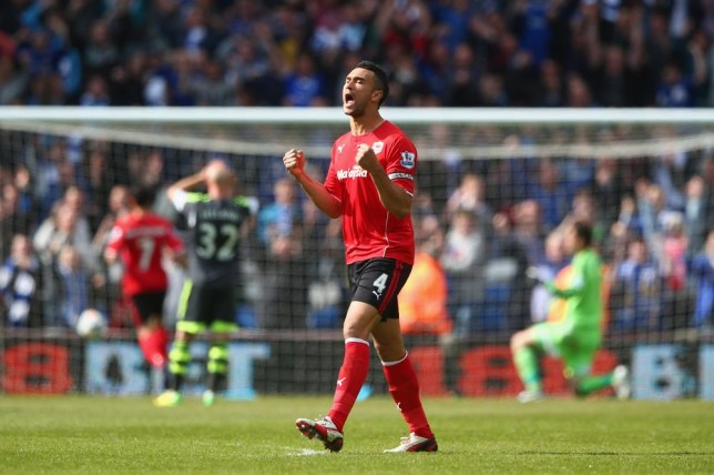 CARDIFF, WALES - APRIL 19: Steven Caulker of Cardiff City celebrates the equalising goal during the Barclays Premier League match between Cardiff City and Stoke City at the Cardiff City Stadium on April 19, 2014 in Cardiff, Wales. Michael Steele/Getty Images