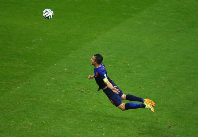 Robin van Persie threw himself at the goal.. (Picture: Getty)